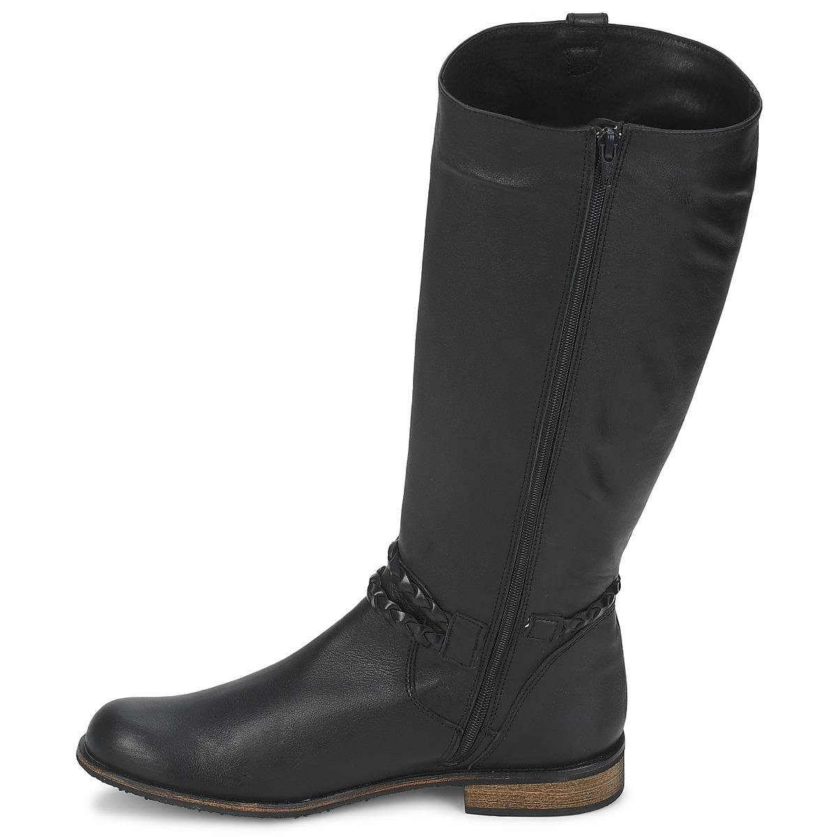 So Size Leather Bertou High Boots in Black