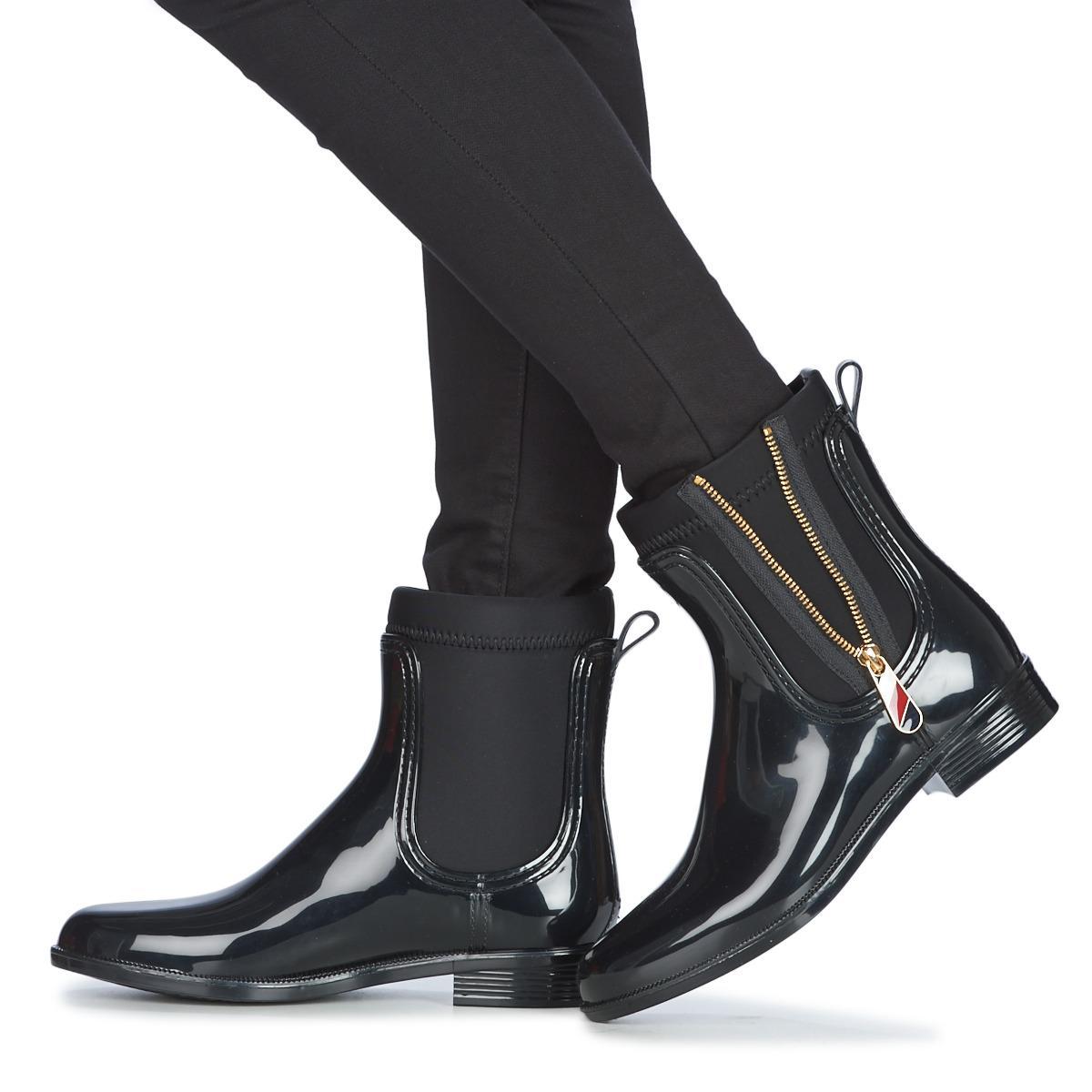 04fdbe4ef668 Tommy Hilfiger - Black Material Mix Rain Boot Wellington Boots - Lyst. View  fullscreen