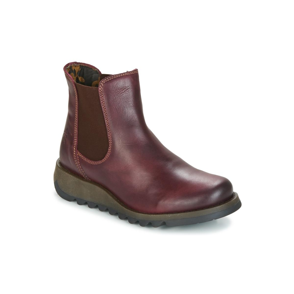 Fly London Leather Salv Wedge Boots in Purple