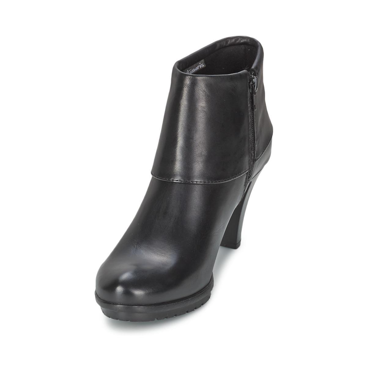 Tamaris Leather Olaya Low Boots in Black