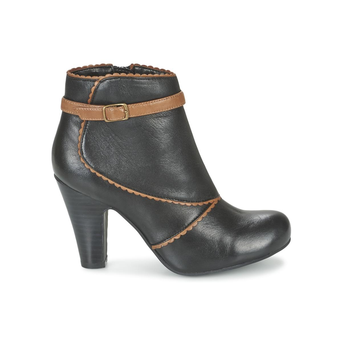 Lotus Synthetic Morie Low Ankle Boots in Black