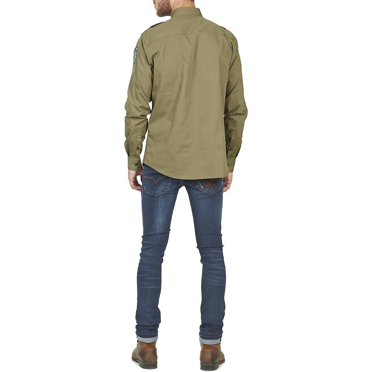 Versace Jeans Couture Denim Farseta Long Sleeved Shirt in Green for Men
