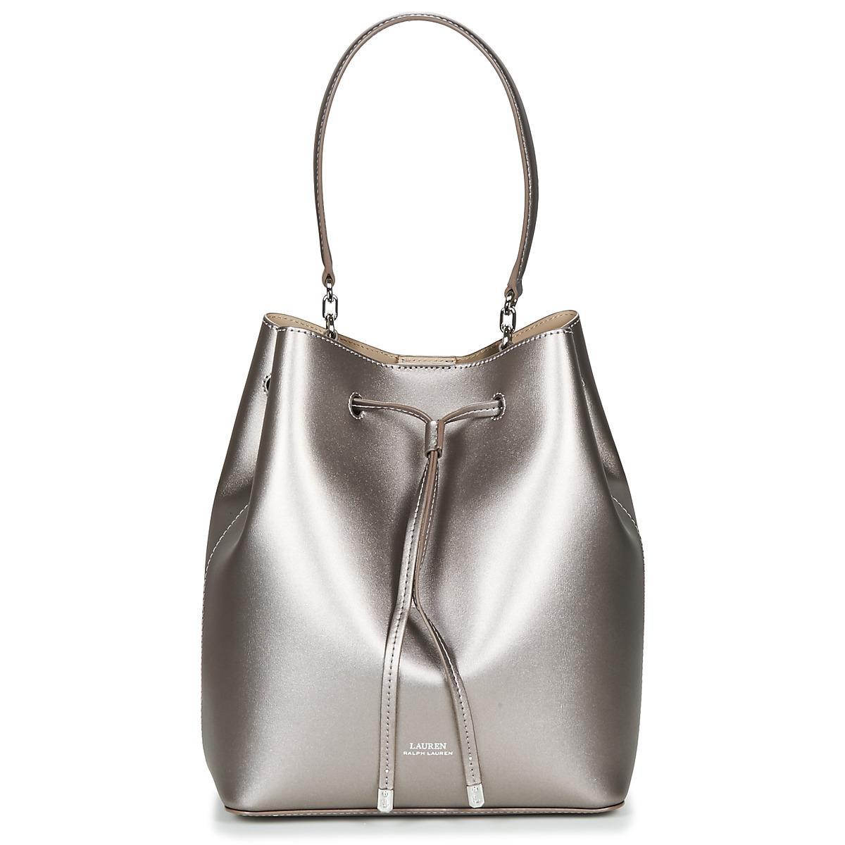 Lauren by Ralph Lauren. Women s Gray Dryden Debby Drawstring Medium  Shoulder Bag 262a9c78239c0