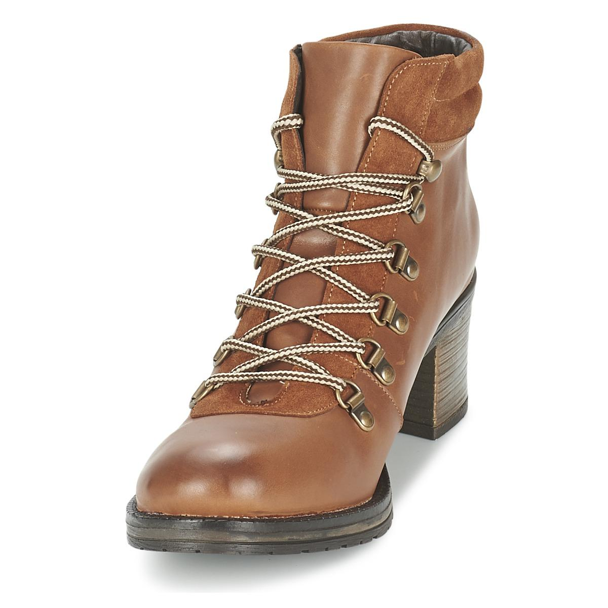 Betty London Leather Natur Women's Low Ankle Boots In Brown - Save 40%