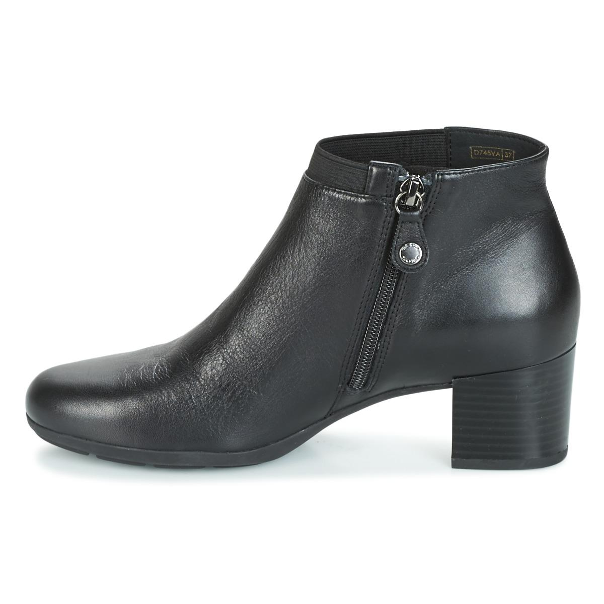 Geox Leather D Annya Mid Low Ankle Boots in Black