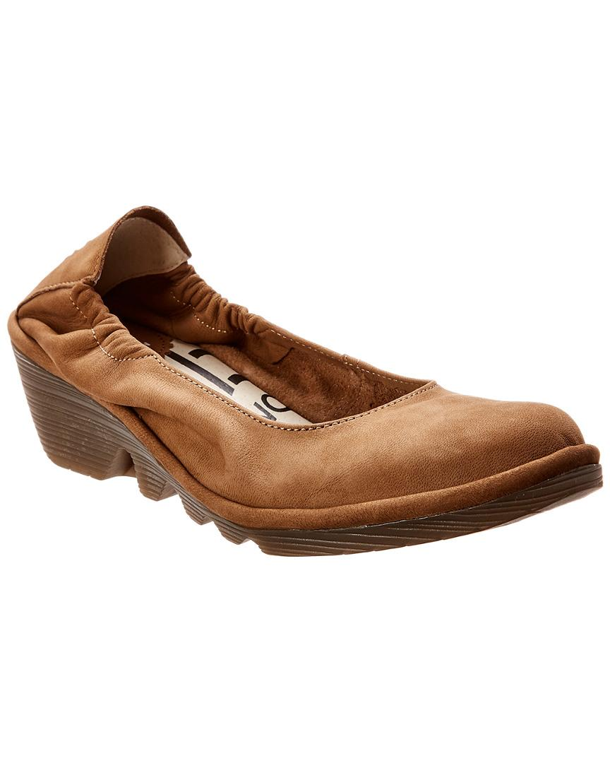 c79b1419951 Lyst - Fly London Pled Leather Wedge Flat in Natural - Save ...