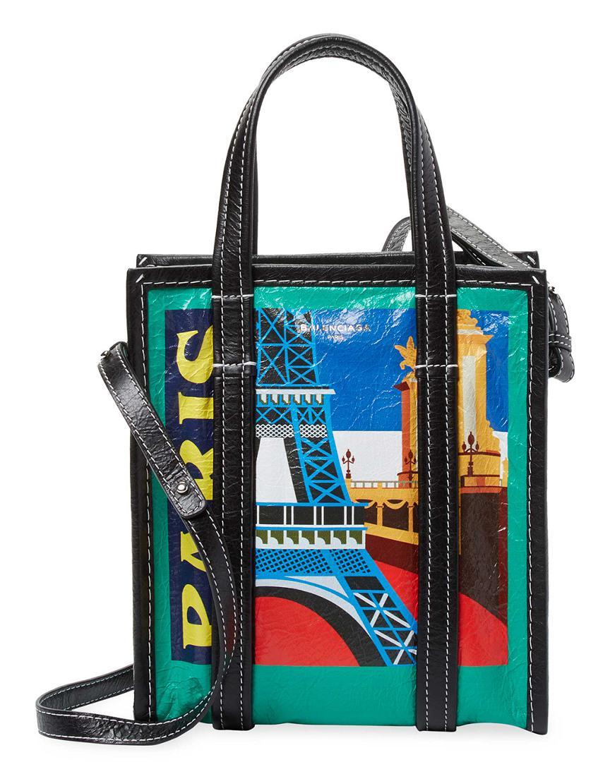 db31d7aa3 Lyst - Balenciaga Bazar Small Paris Leather Shopper Tote in Green ...