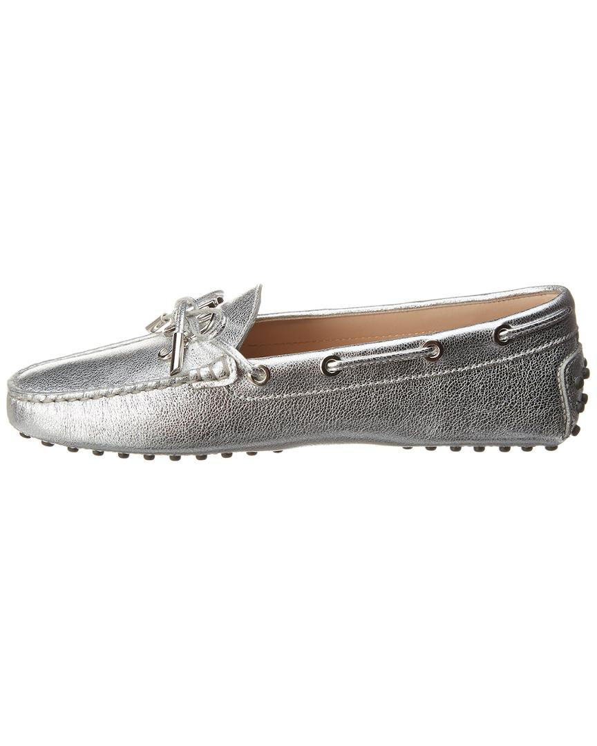 022a2edf629 Tod S Gommino Metallic Leather Loafer in Metallic - Lyst