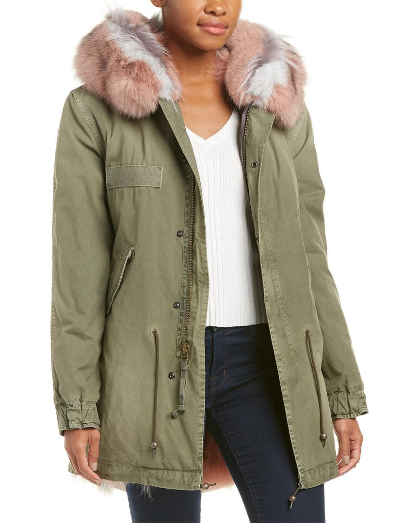 Mr & mrs italy Leather-trim Parka in Green | Lyst