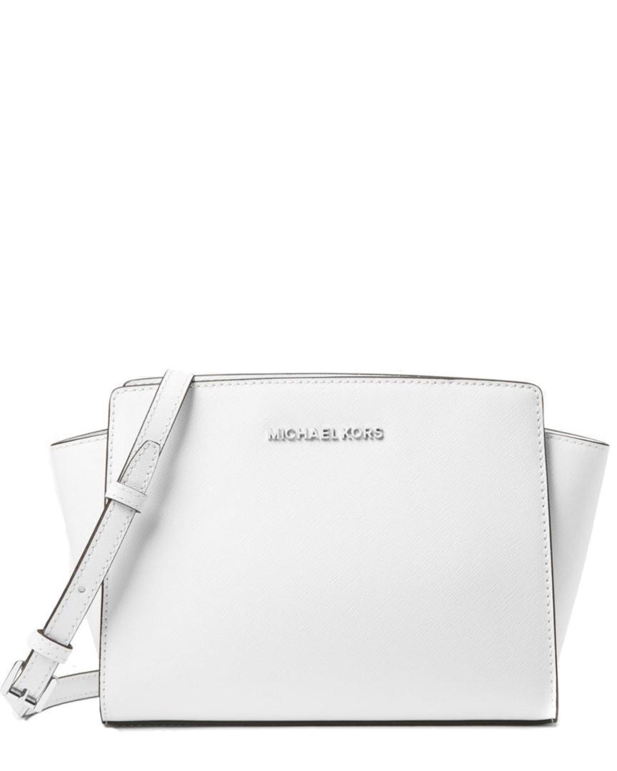 8edde1e55202 Lyst - Michael Michael Kors Selma Medium Leather Crossbody in White