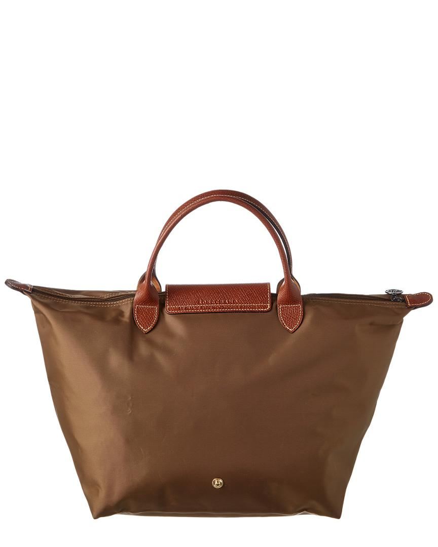 Longchamp Synthetic Le Pliage Medium Nylon Short Handle Tote in Beige (Natural)