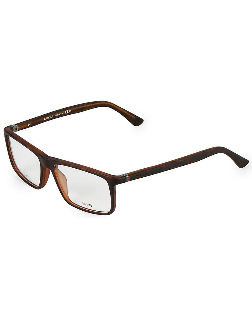 cd2216b077a2a Gucci - Brown 55mm Square Optical Glasses for Men - Lyst. View fullscreen