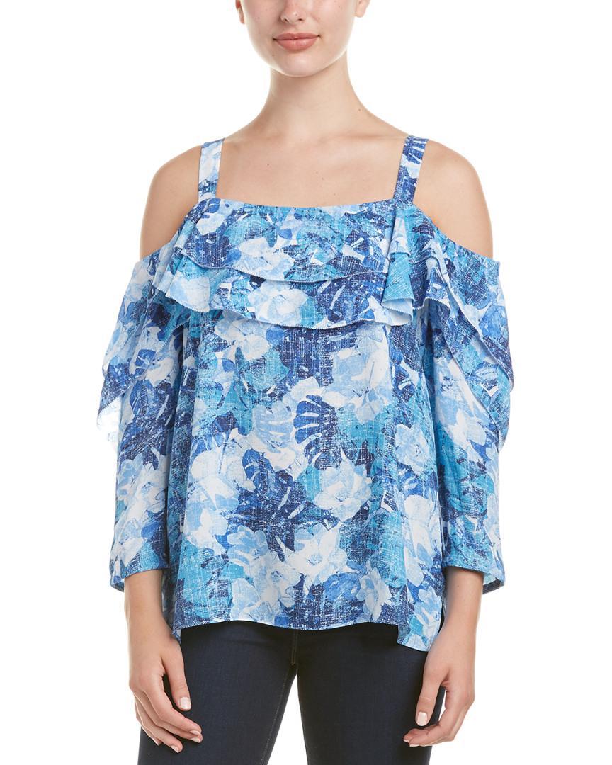 9c0262d4ebd45 Nydj Floral Print Ruffle Cold Shoulder Blouse in Blue - Save ...