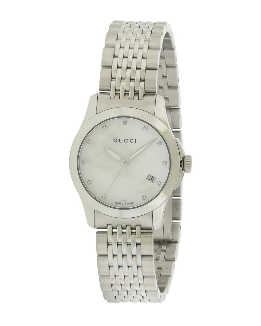 e546a2a88e9 Lyst - Gucci Women s G Timeless Diamond Watch in Metallic