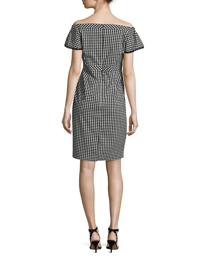058895e44281 Nanette Lepore Nanette By Gingham Print Off-the-shoulder Dress in Black -  Lyst