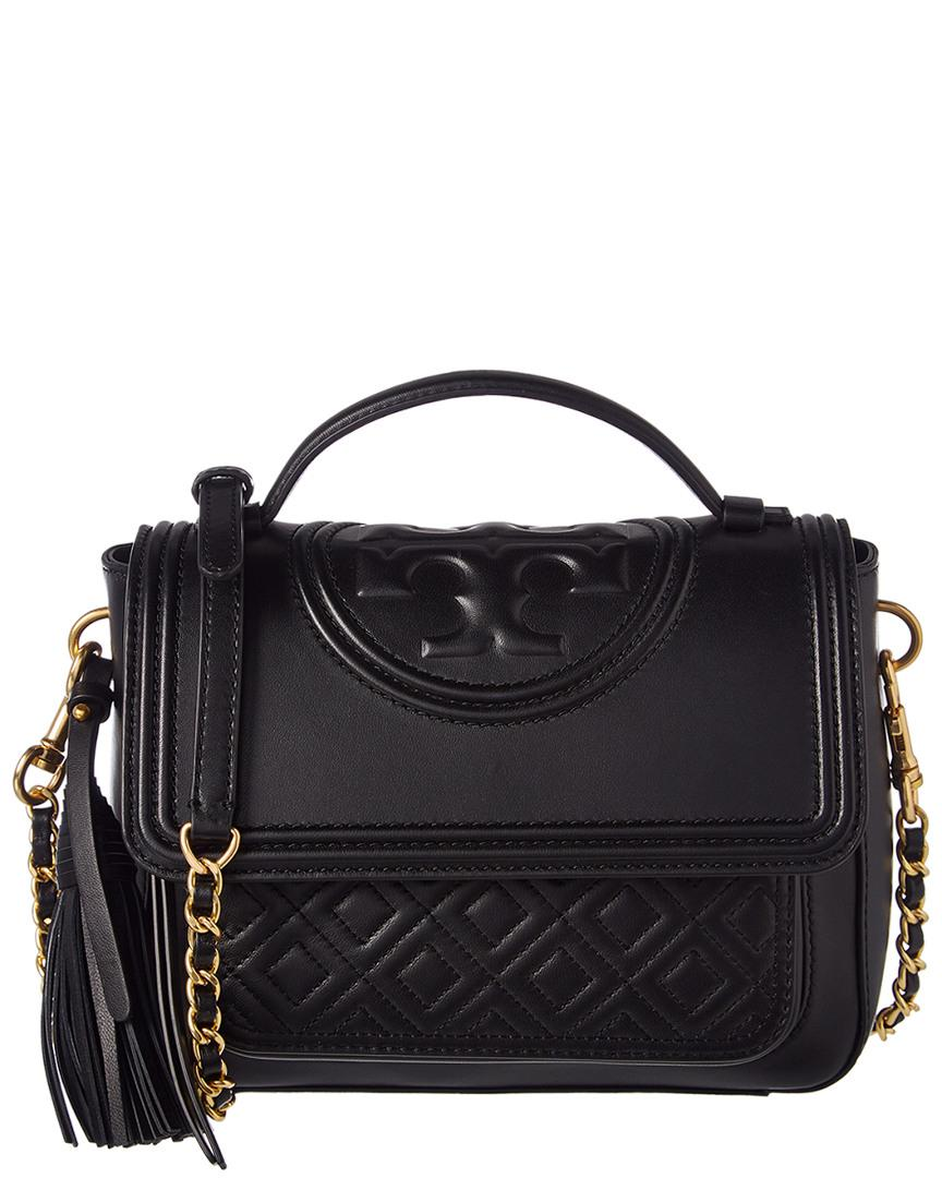 9f47eac513e Tory Burch Fleming Leather Satchel in Black - Lyst
