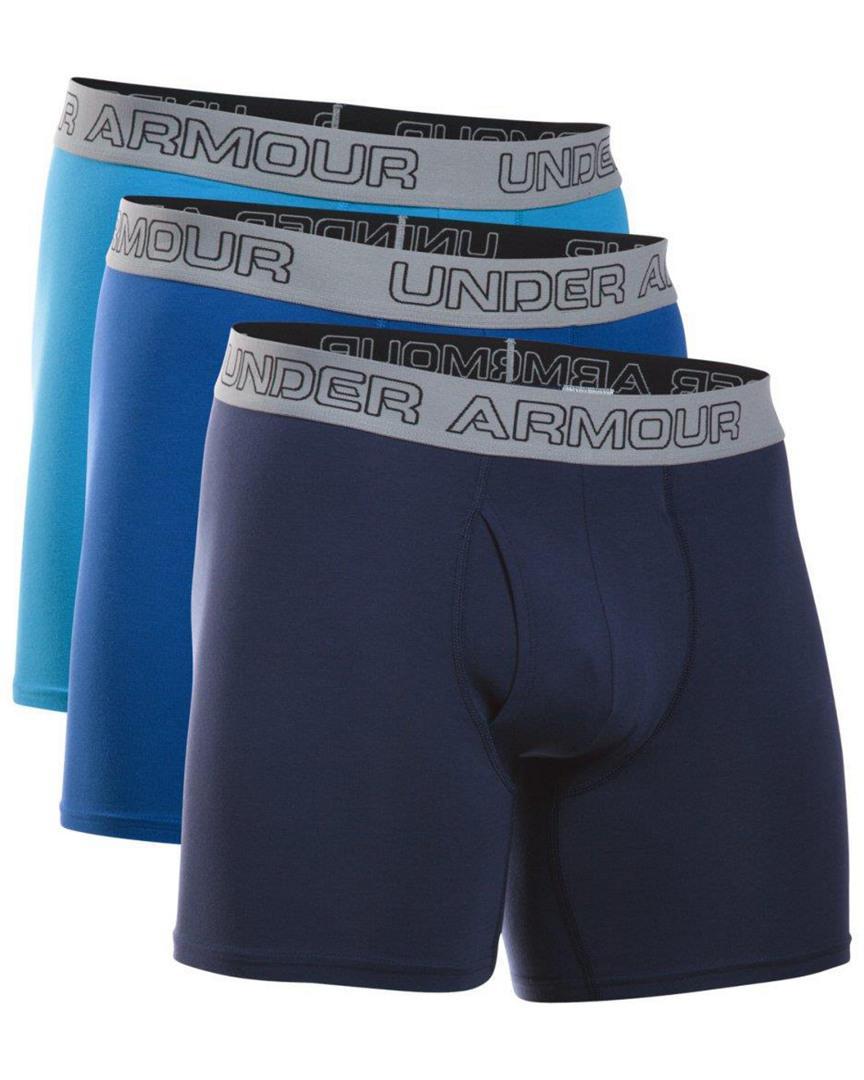 968aaedc6b49 Under Armour - Blue Charged Cotton 6'' Boxerjock Boxer Briefs 3 Pack for Men