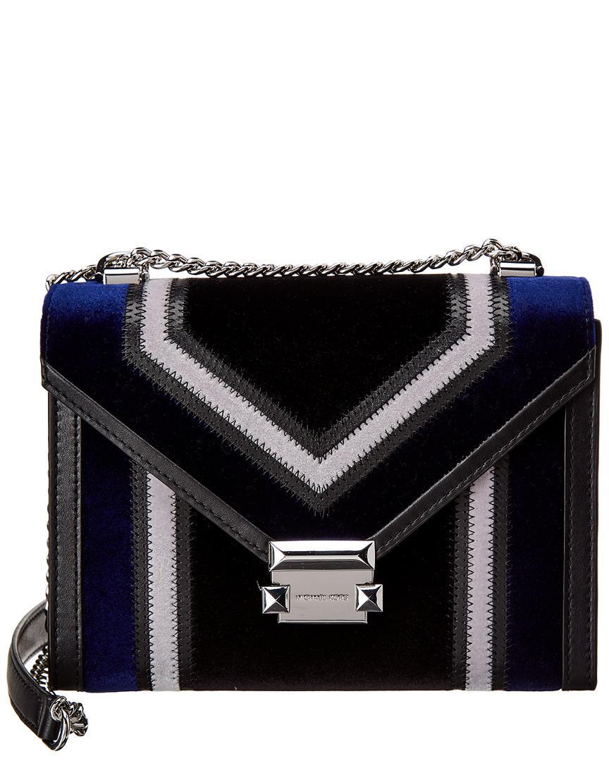 MICHAEL Michael Kors. Women s Black Michael Kors Whitney Large Velvet  Shoulder Bag 26535a8b6a8c9