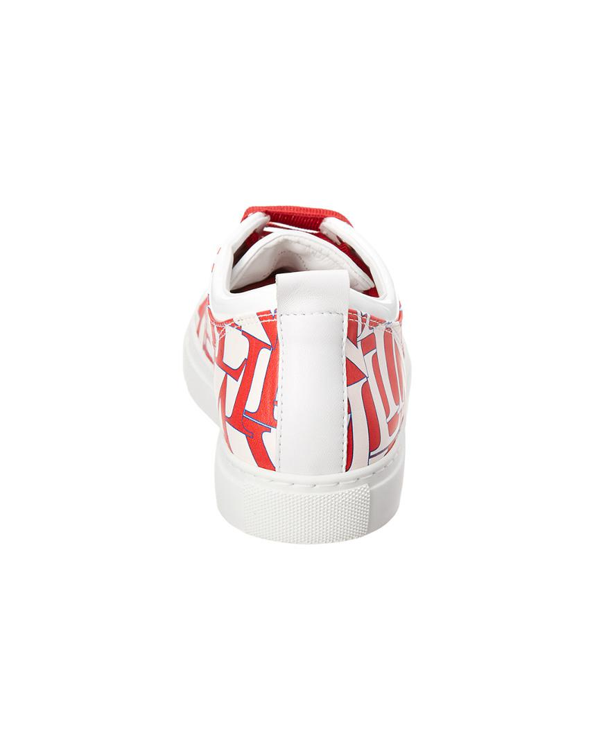 Lanvin Leather Logo Printed Sneaker in Red