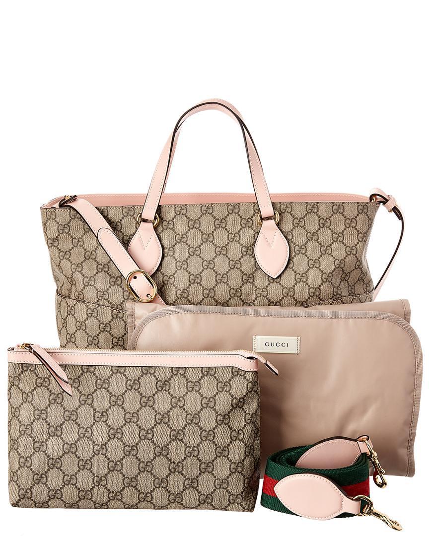 2bc6f7ff3b1 Lyst - Gucci Soft Gg Supreme Diaper Bag in Pink