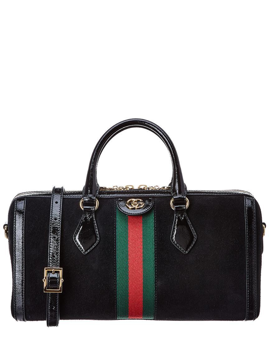 Lyst - Gucci Ophidia Medium Leather Shoulder Bag in Black - Save 13% 1291eea42ece6