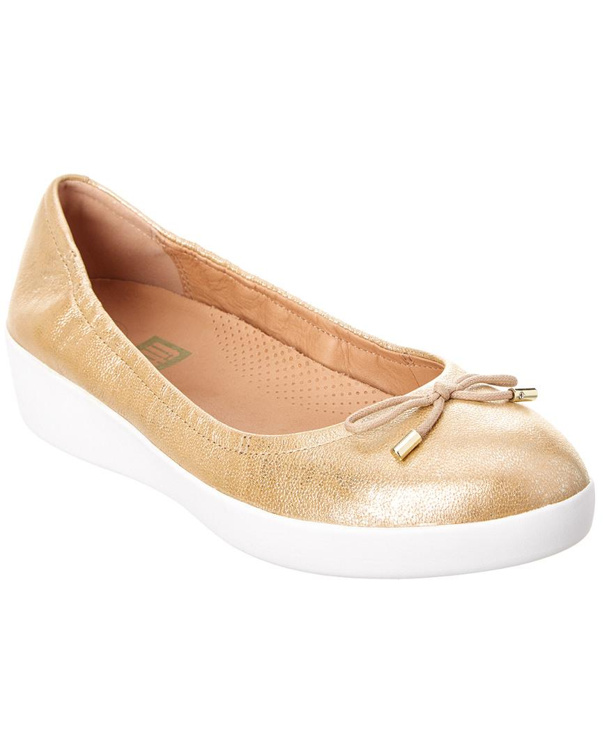 052db2848ddcdc Lyst - Fitflop Superbendy Ballerina Flat in Metallic