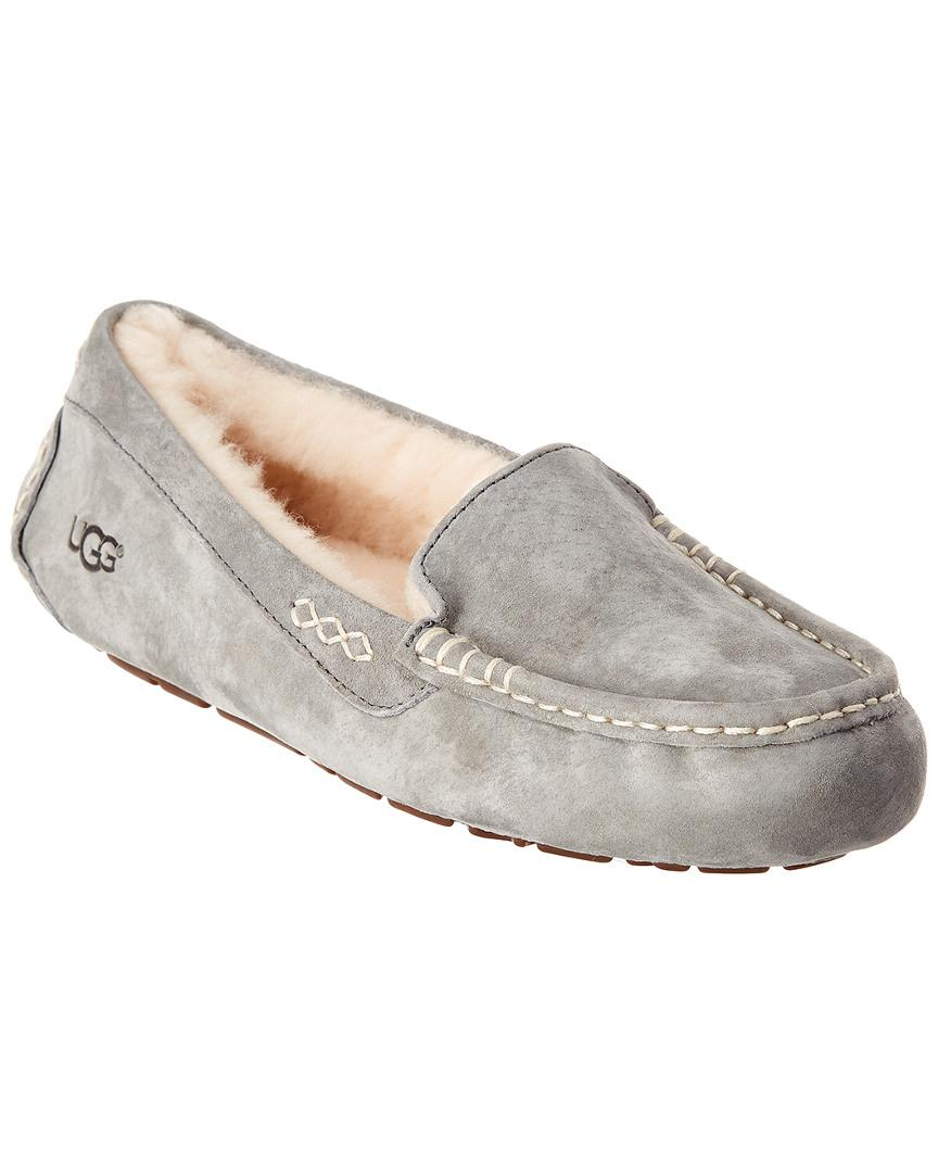 Ugg Ansley Water Resistant Suede Slipper In Light Grey