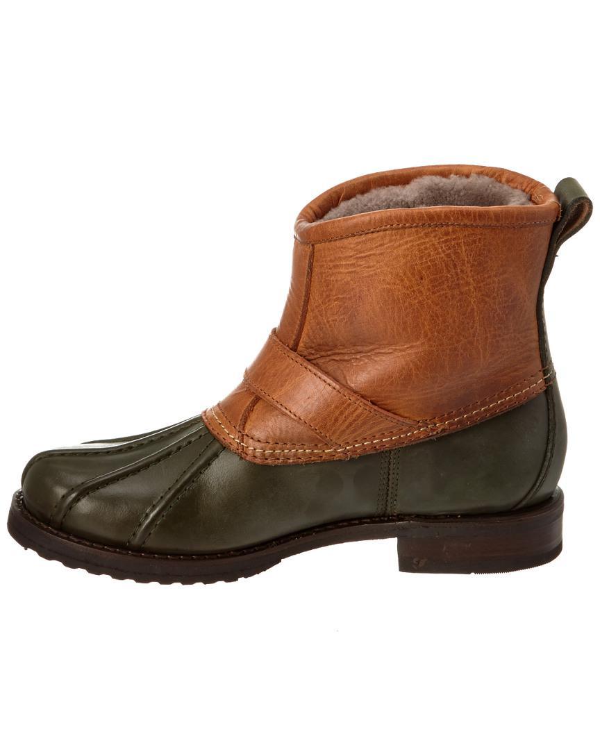 Frye Women's Veronica Engineer Leather Duck Boot in Green