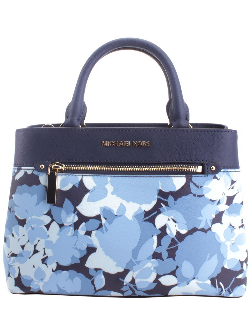 a92fbe62aa71 Michael Kors - Blue Hailee Leather Satchel - Lyst. View fullscreen