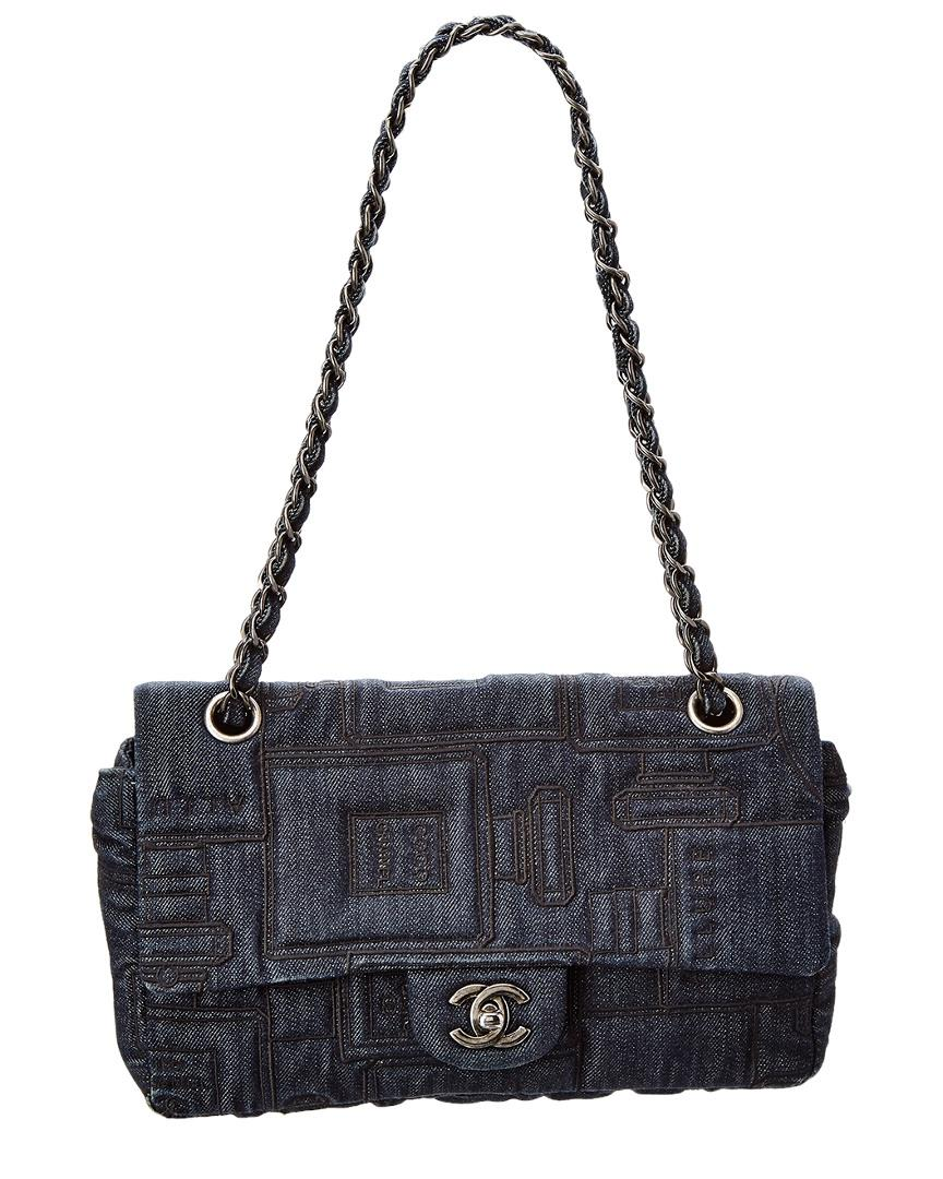 ef8f73632a2d Lyst - Chanel Limited Edition Blue Denim Medium Single Flap Bag in Blue
