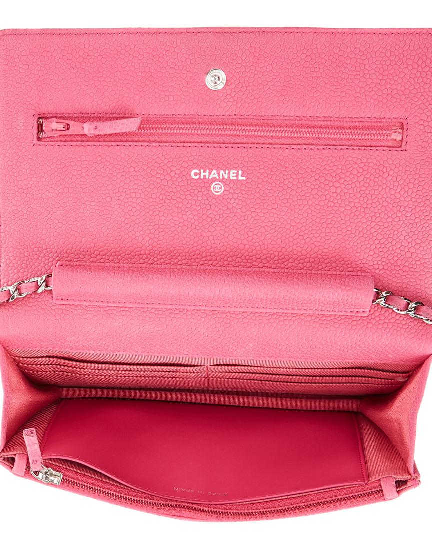 b4300dd6ca47 Lyst - Chanel Pink Quilted Soft Caviar Leather Wallet On Chain in Pink