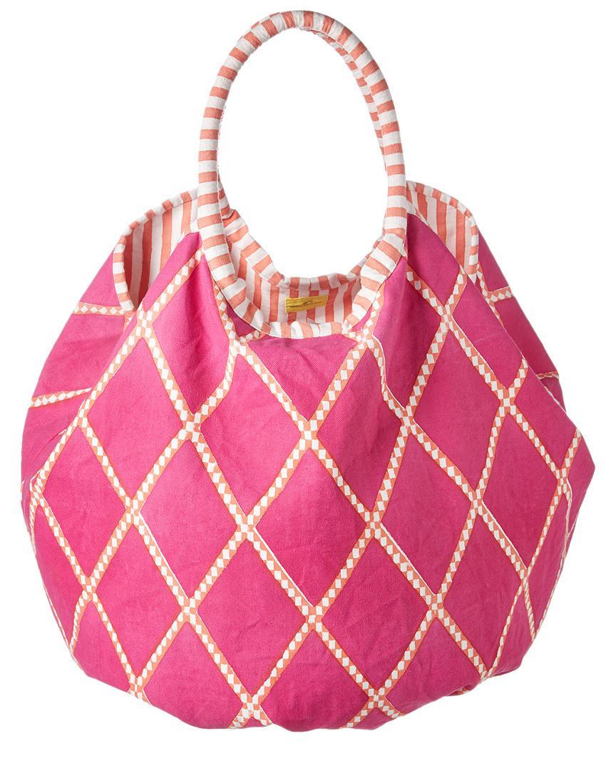 Roller Rabbit Bondi Cotton Beach Bag Tote Rose One