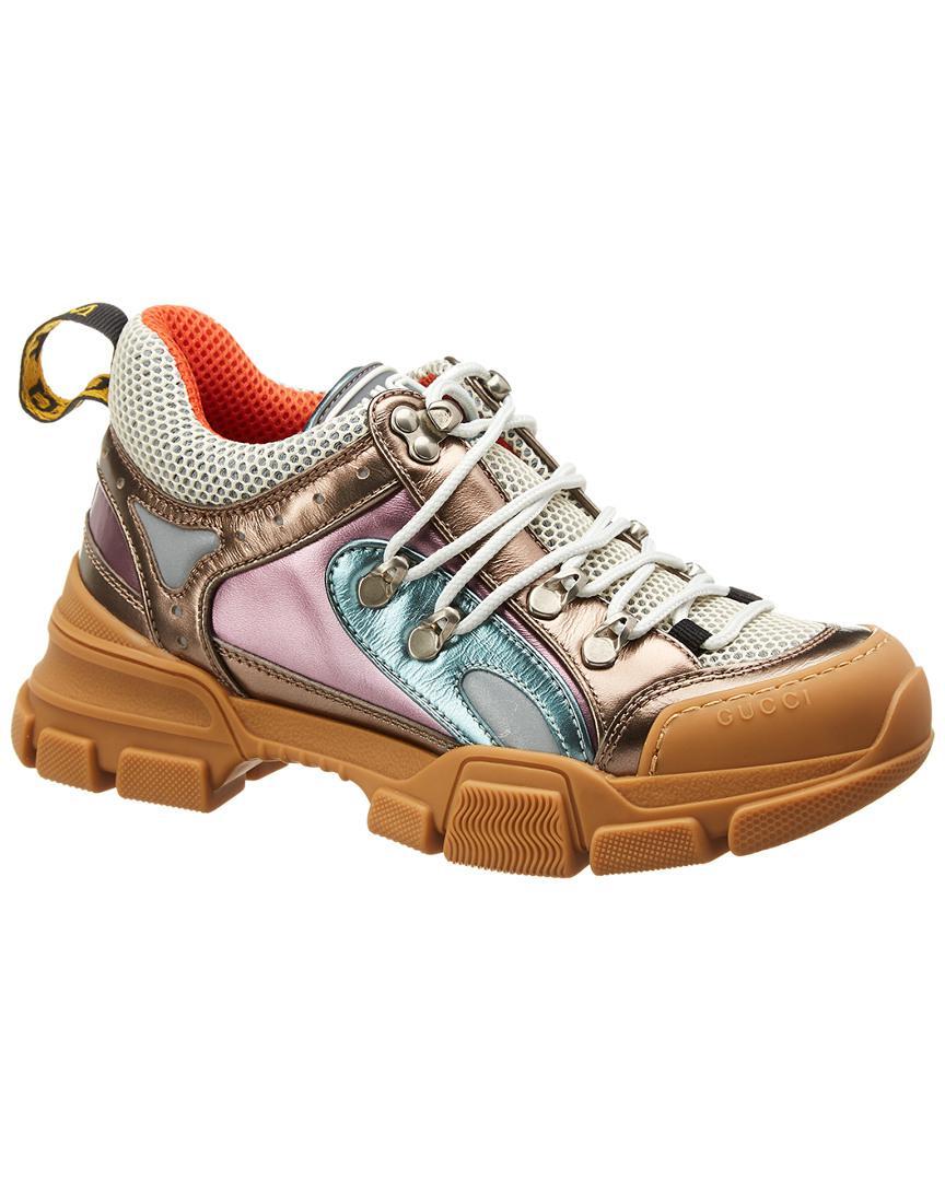 daf5c6c9a62 Gucci Flashtrek Leather Sneaker in Metallic - Save 4% - Lyst
