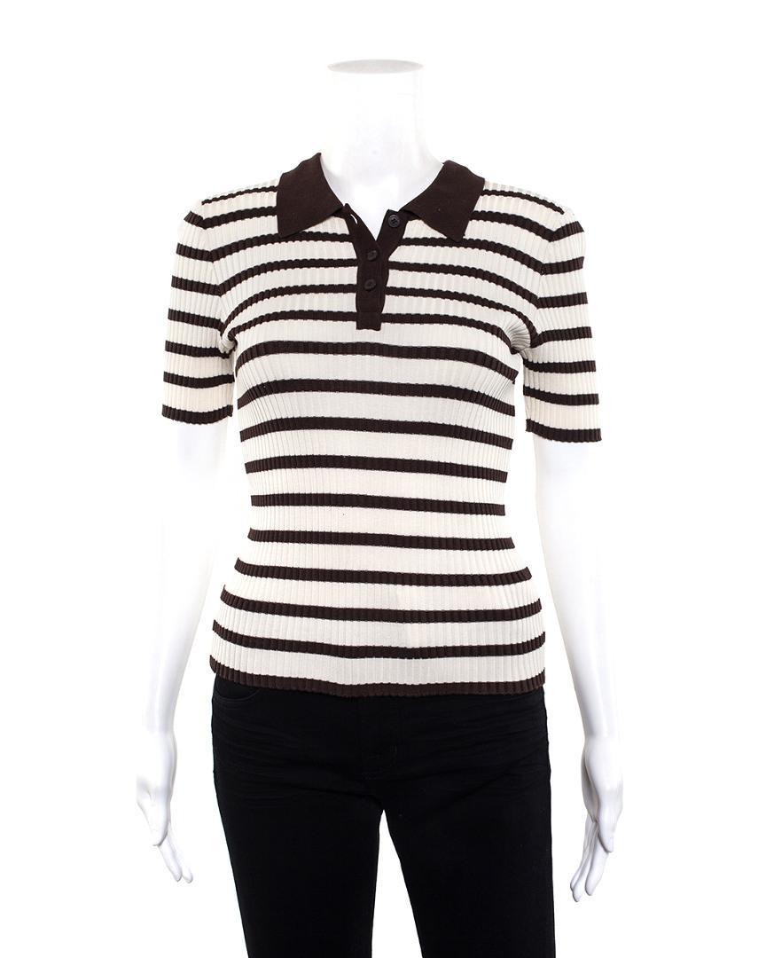 e21e4c3b1d1 Chanel Boutique White   Brown Cotton Short Sleeve Striped Polo (size ...