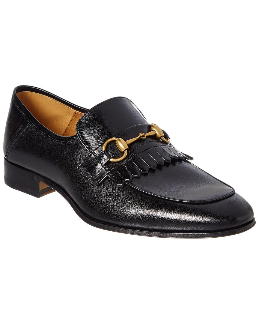 37e8a67cd97 Lyst - Gucci Leather Fringe Horsebit Loafer in Black for Men - Save 27%