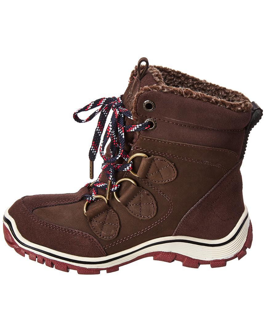 SCHUTZ Hollie Lug Sole Chocolate Brown Suede Rabbit Fur Trim Winter Ankle Bootie
