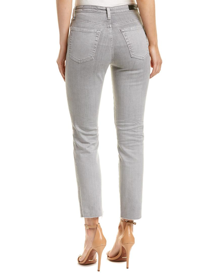 AG Jeans Cotton Isabella 30 Years Ithaca High-rise Straight Crop in Grey (Grey)