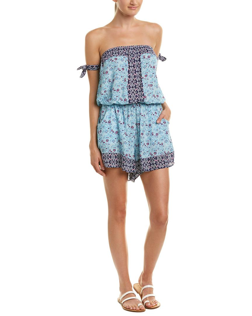 2c57a760dafa5 Lyst - Lucky Brand Tile To Bloom Romper in Blue - Save 7%
