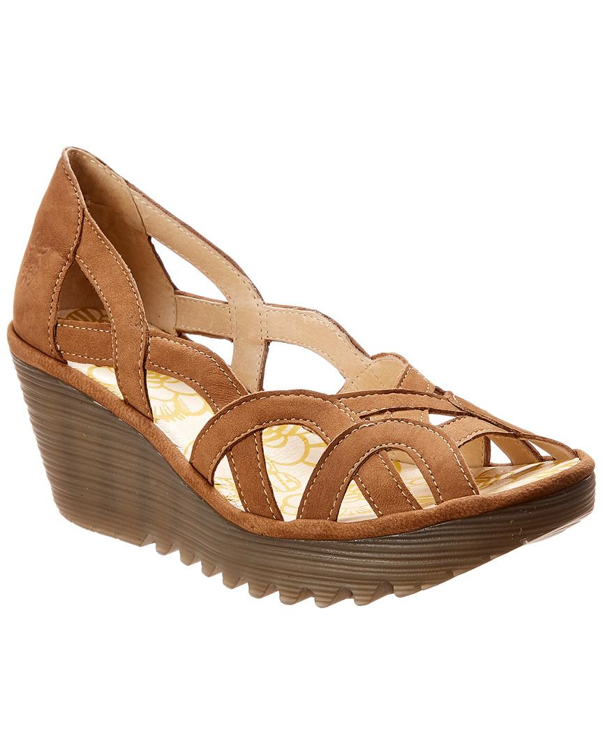 d56e8d934faf Lyst - Fly London Yadi Leather Wedge Sandal in Natural