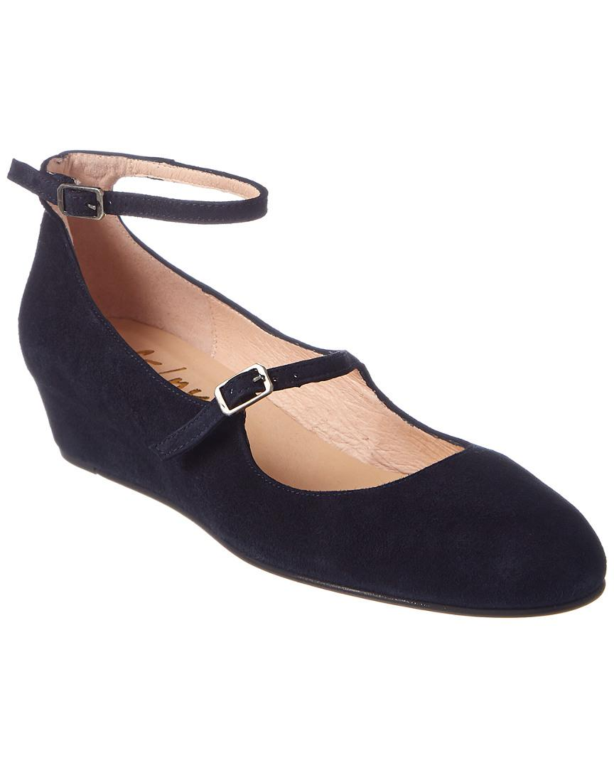 18f9aec6159 Lyst - French Sole Lulu Suede Wedge in Blue - Save 39.45578231292517%