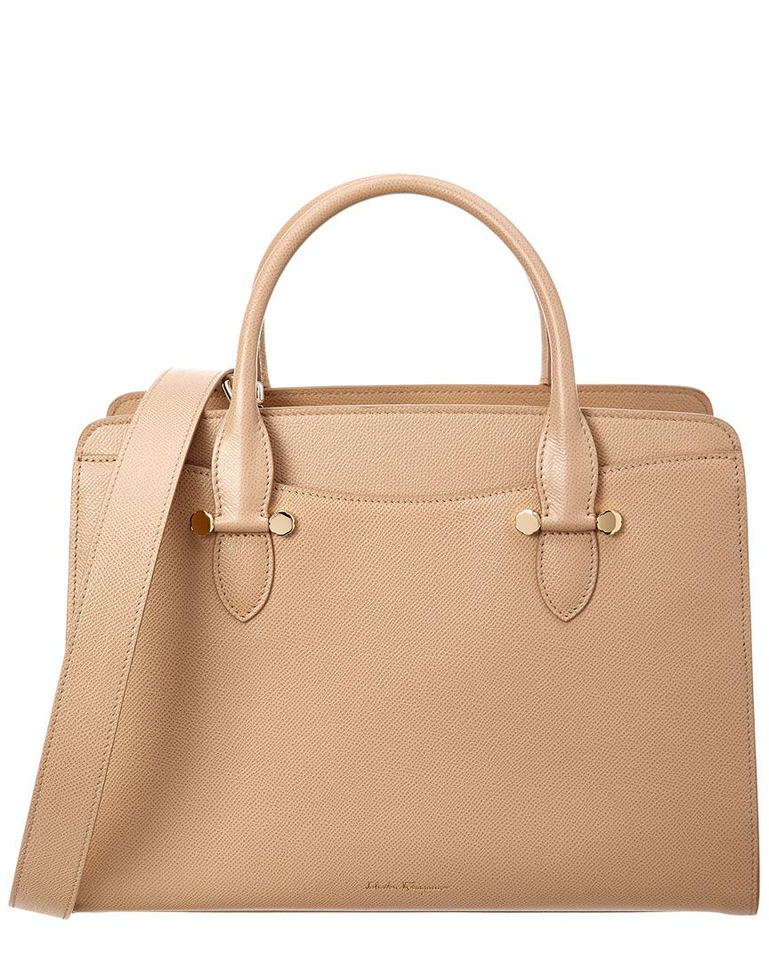 b9743f5431ae Lyst - Ferragamo Double Handle Leather Tote in Natural