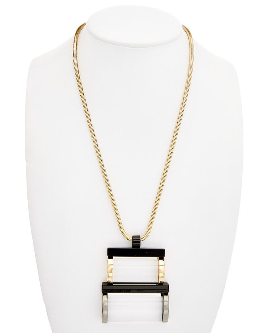 Lafayette 148 New York Synthetic Lucite Art Deco Necklace in Metallic