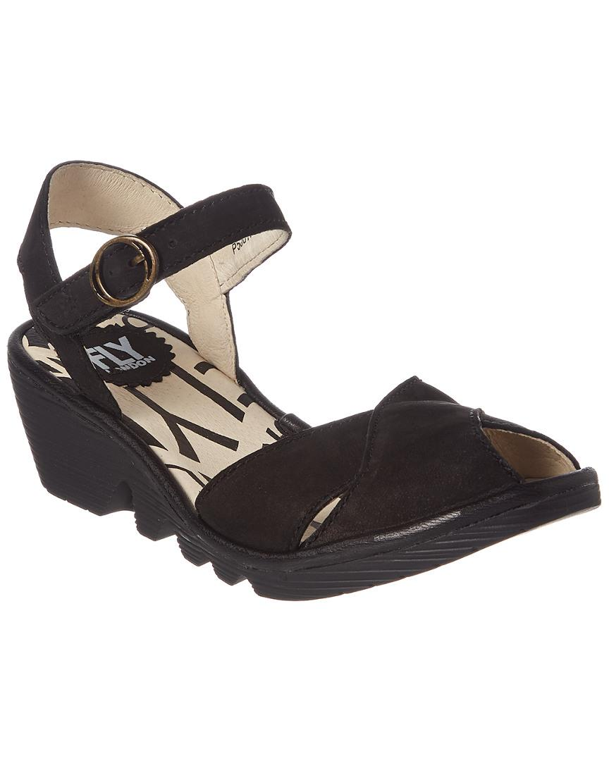 0a50bb534f57 Lyst - Fly London Pero Leather Wedge Sandal in Black - Save ...