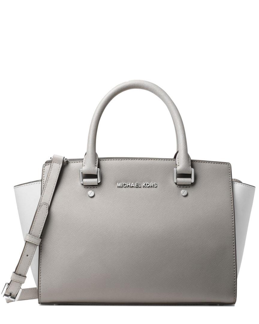 Lyst - MICHAEL Michael Kors Selma Medium Color-block Leather Satchel ... fd55382c4e1c6