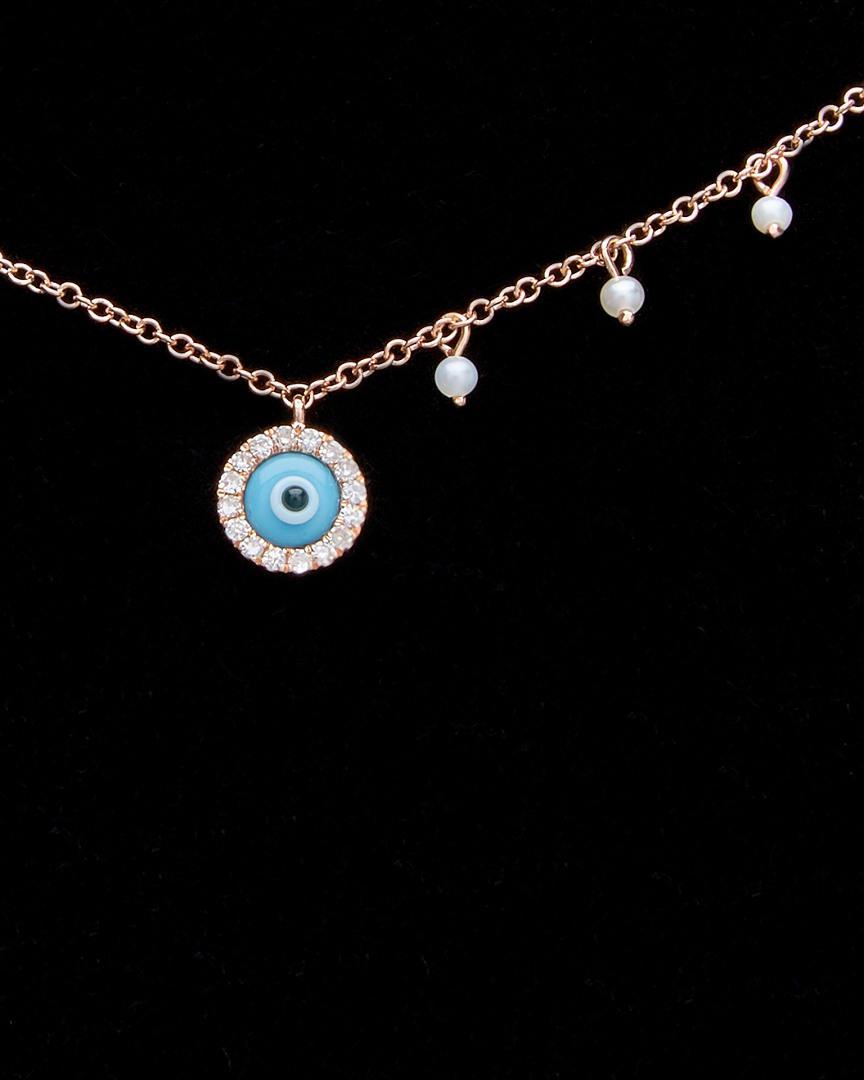 Meira T 14k Rose Gold Diamond Evil Eye Necklace in Black