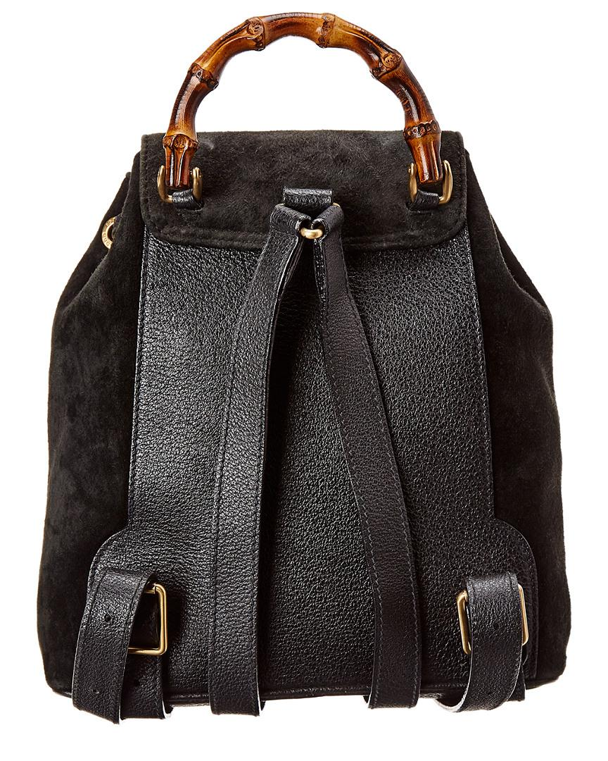 8a24c58e11e8 Lyst - Gucci Black Suede   Leather Small Bamboo Backpack in Black