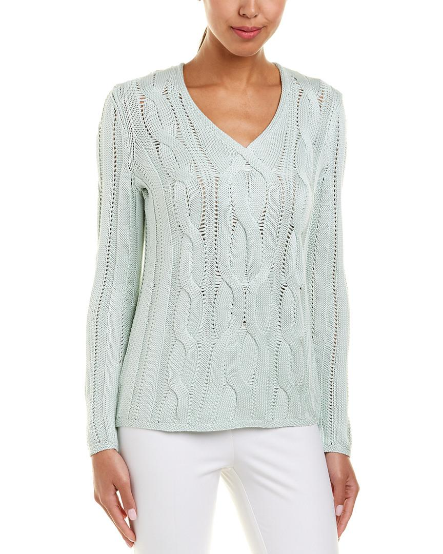 1e7bdd06f15d5 Lyst - Lafayette 148 New York Cable-knit Silk-blend Sweater in Green