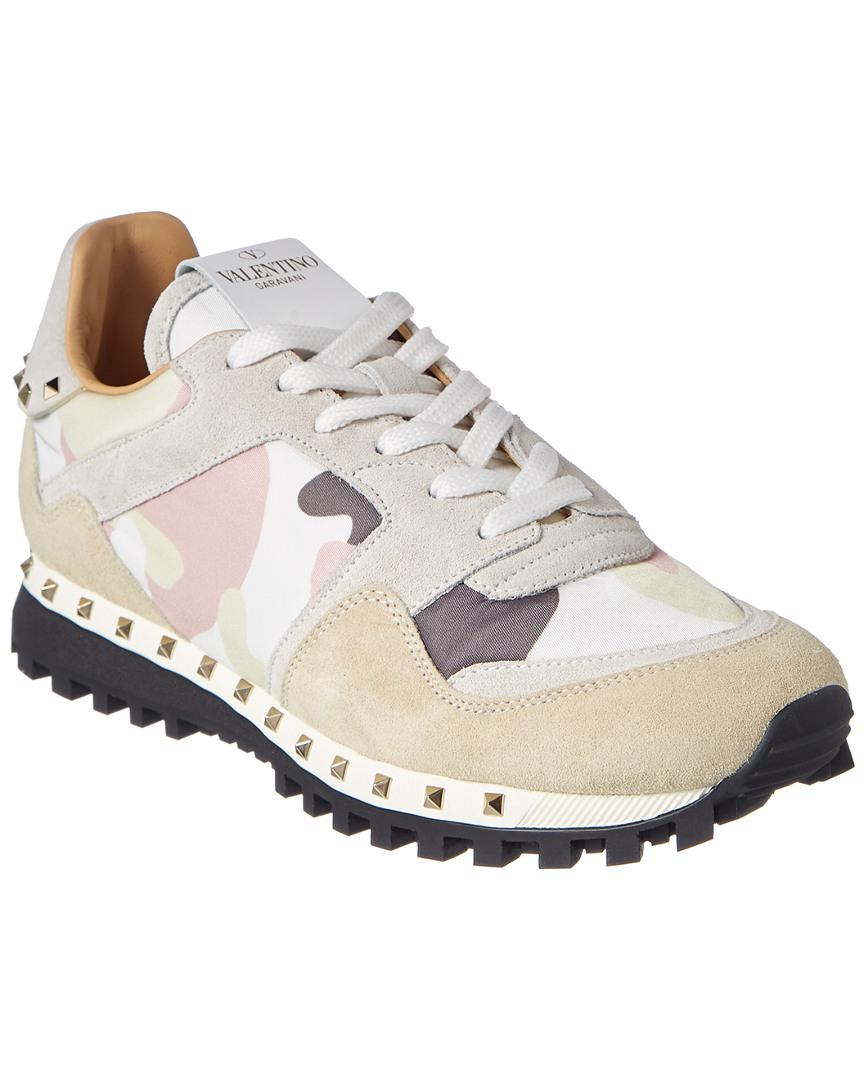 5f60ee2c7aebb Valentino Camouflage Sole Studded Suede Sneaker in White - Save 7 ...
