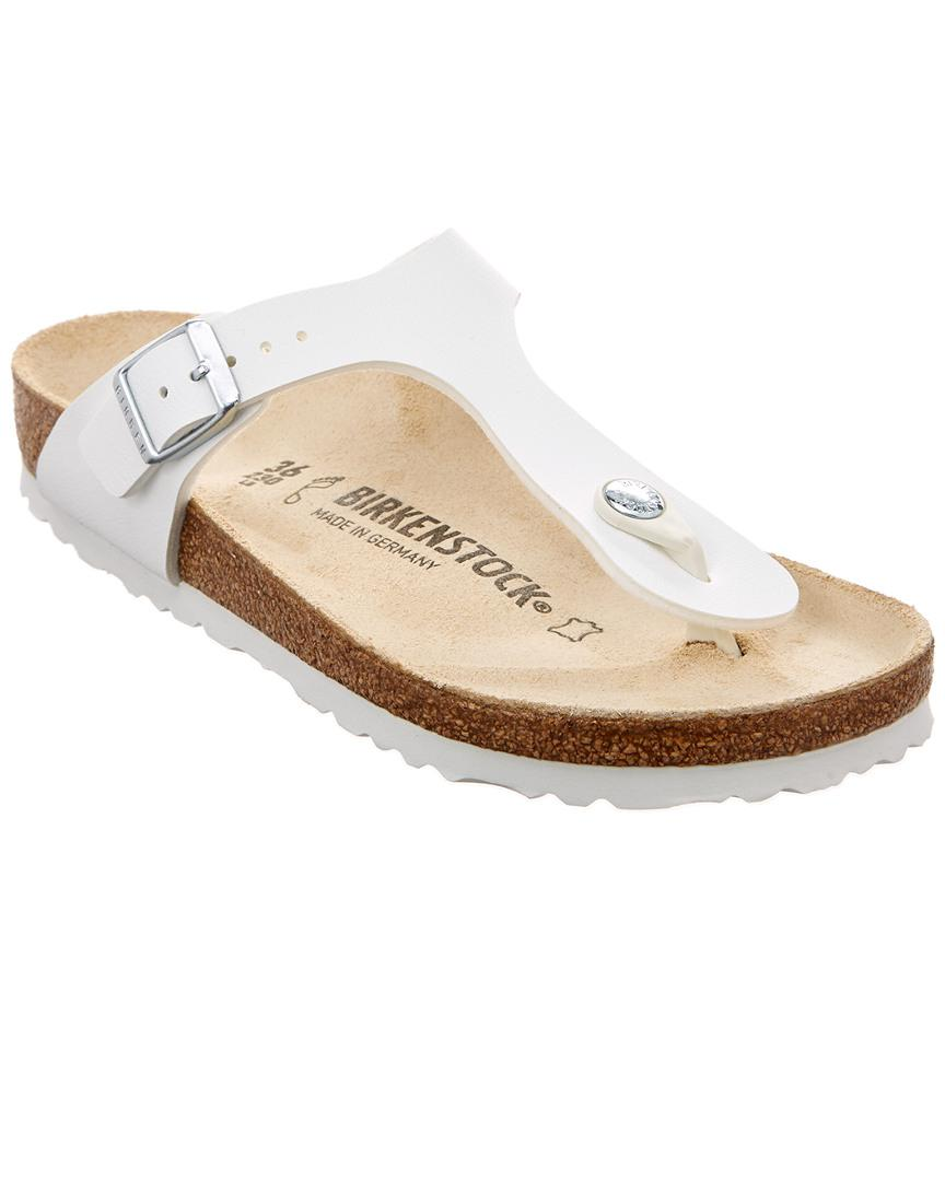 e0e8cb4cbc2 Lyst - Birkenstock Gizeh Birko-flor Leather Sandal in White