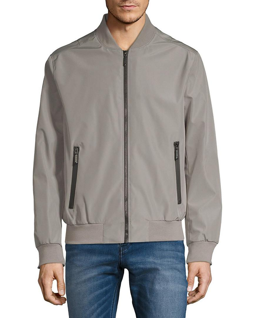 Andrew Marc Synthetic Rib-trimmed Bomber Jacket in Grey for Men